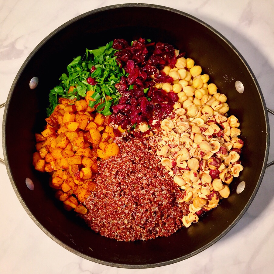 squash quinoa cranberries hazelnuts parsley