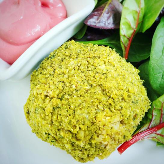 vegan Spinach falafel with beet tahini dressing