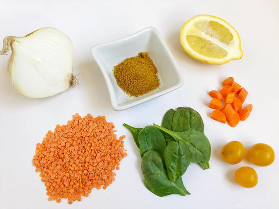 lentil soup ingredients on a counter