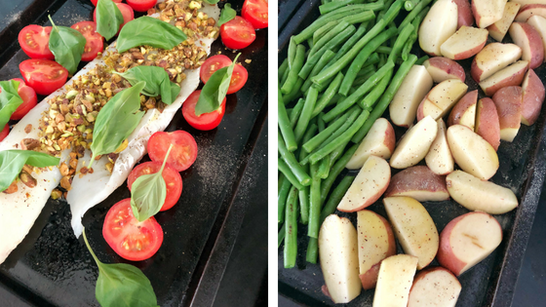 Cod tomatoes basil green beans potatoes sheet pans