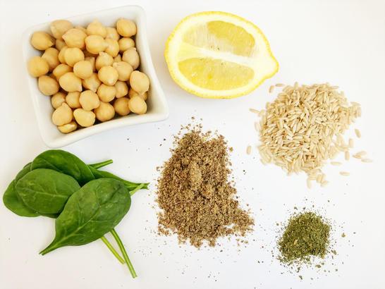 chickpeas lemon rice flax spinach parsley