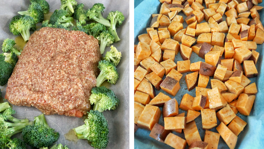 Maple dijon salmon broccoli chopped sweet potatoes