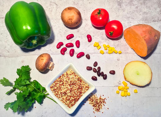 vegan chili ingredients vegetables on a counter