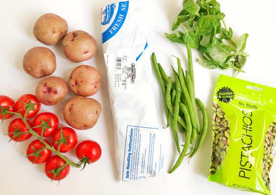 tomatoes potatoes cod green beans basil pistachio