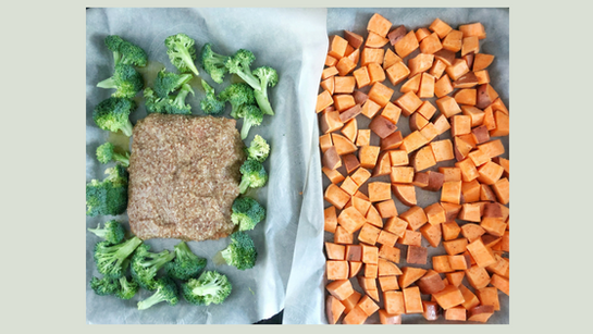 Sheet pans maple dijon salmon broccoli sweet potatoes