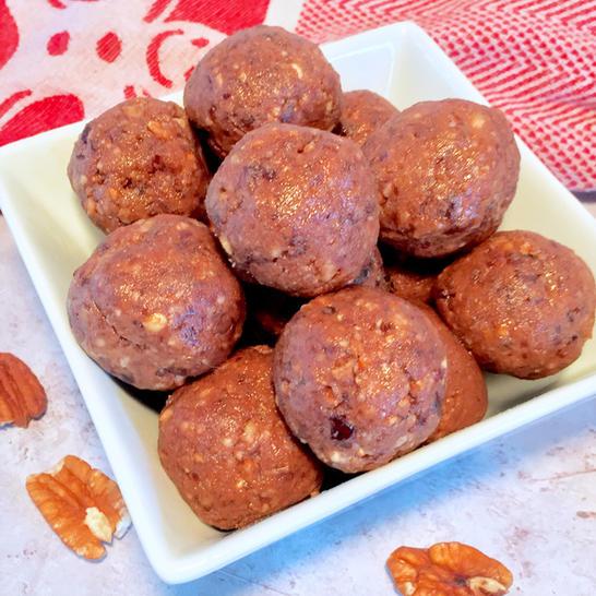 pecan pie protein balls holiday cookies dairy-free gluten-free