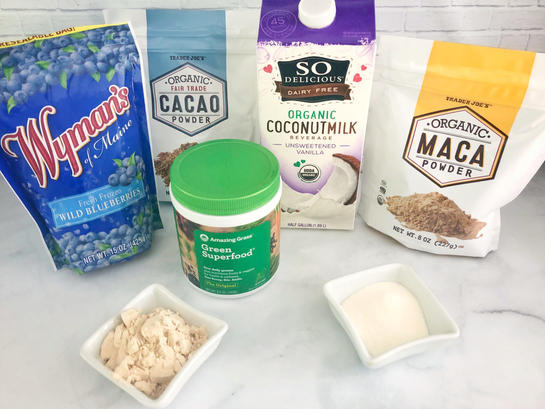 The Daily Smoothie ingredients blueberries cacao coconut milk maca collagen protein daily greens