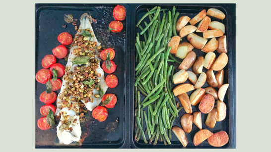 Roasted cod caprese with pistachios green beans and potatoes