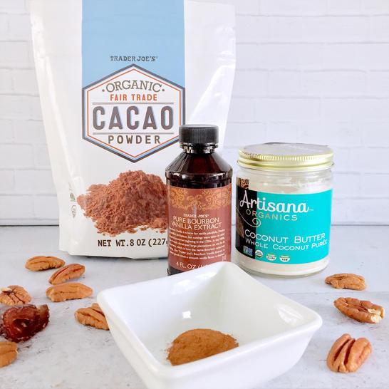 pecans dates coconut butter cacao vanilla cinnamon